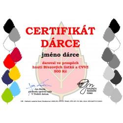 Certifikát dárce 500kč