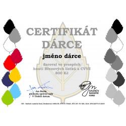 Certifikát dárce 800kč